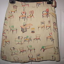 9 H15 Anthropologie Wrap Chair Print Skirt Size 0 Photo