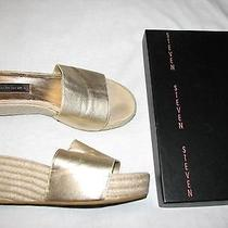 9 M Steven Madden Metallic Gold Lame Leather Ladies Shoes Wedge Heels Box Sezer Photo