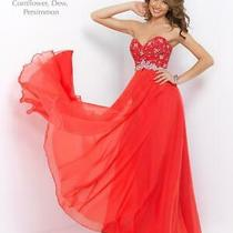90 Long Prom Dress Blush Prom X212 Color Persimmon Size 4 Photo