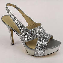 90 Nine West Fair Game Women's Silver Strappy Shoes us7.5 Photo