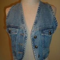 90's Vintage Denim Fitted Vest 100% Cotton Exp Express Size Small S -Free Ship Photo