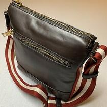 900 Bally Large Brown 100% Leather Messenger Bag With Adjustable Strap Photo