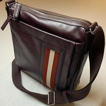 900 Bally Large Merlot 100% Leather Messenger Bag With Adjustable Strap Photo