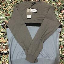900us Giorgio Armani Cashmere Silk Soft Grey Blue Sweater 58 Photo
