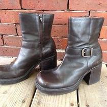 90s Nine West Platform Grunge Brown Leather Boots Sz 8 Vtg Photo