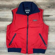 90s Vintage Lands End Preppy Camping Hiking Fleece Lined Red Nylon Vest Photo