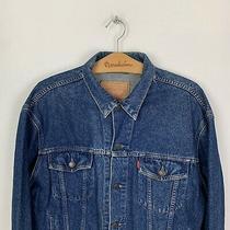90s Vintage Levis Mens Blue Denim Jean Trucker Jacket Size Large Photo