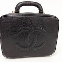 917 Chanel Black Caviar Skin Cc Logo Cosmetic Case Vanity Hand Shoulder Bag 2way Photo
