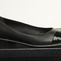 925 New 14c Chanel Black Leather Crystals Cc Ballerinas Ballet Flats Shoes 39.5 Photo