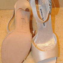 925 New Manolo Blahnik White Satin Dribbin Jeweled Sandals Shoes Wedding 36.5 6 Photo