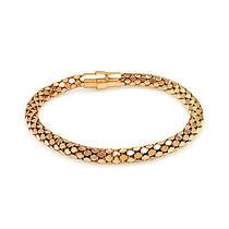 .925 Sterling Silver Rose Gold Plated Snake Skin Italian Bracelet Photo
