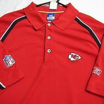 926 Sz M Red Striped Kansas City Chiefs Nfl Reebok Polo Shirt Photo