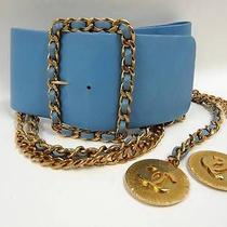 940 Authentic Chanel 28 Light Blue Leather Gold Tone Chain Belt Cc Logos 75/30 Photo
