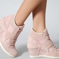 95 Aldo Suede Blush Leather Wedge Sneakers 41/10 Photo