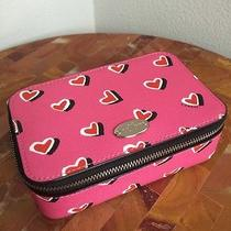 95 Authentic Coach Heart Pink Zip Around Jewelry Case Photo