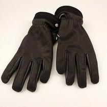 95 Ugg Mens Genuine Leather Capitan Gloves Size Large Black Faux Fur Lined Photo