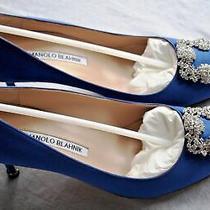 965 Nwt Manolo Blahnik Hangisi 70mm Royale Blue Satin Pumps Jeweled Clc Nib Photo