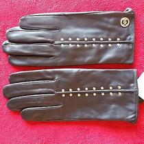 98 Authentic Nwt Michael Kors Black Leather Astor Studded Xl Gloves Photo