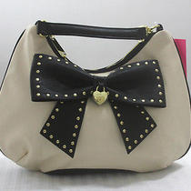 98 Betsey Johnson Bob - Bone/blk Hopeless Romantic Hobo Bag Handbag Photo
