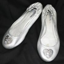 98 Brighton Silver Leather & Silver Heart Ballet Flats Size 7 1/2 M Photo