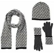 98 Michael Kors Women's 3 Pc Gift Set Logo Scarf Hat & Gloves Gray Black in Box Photo