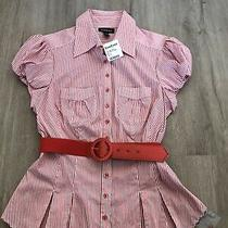 98 Nwt Bebe Size Large L Striped Belted Top Blouse Pleated Dark Pink Red Rare Photo