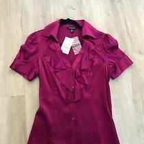 98 Nwt Bebe Size Large v Neck Ruffle Fushia Pink Purple Silk Blouse Top Shirt Photo