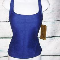 99 Gottex Cobalt Lined Insert Tankini Swimsuit Top Size 8 Nwt Photo