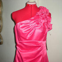 99 Nwt Hailey Logan by Adrianna Papell Coral One Shoulder Cocktail Mini 9/10 Photo