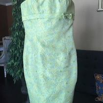 995 Carmen Marc Valvo Dress Strapless Green Blue Gold Baroque 2 Xs Corset Photo