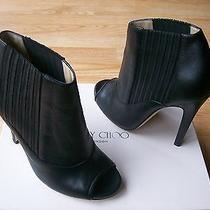 995 Jimmy Choo Bolt Booties Ankle Shoes Pumps Peep Toe Black Sz 37.5 Us 7 Nib Photo