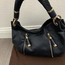 995 Michael Kors Runway Navy Snakeskin Trimmed Gold Tonne Hobo Handbag Braided Photo