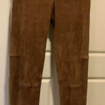 998 Polo Ralph Lauren Leather Lamb Suede Skinny Pant Warm Brown  Size Small Photo