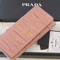 998prada Wallet Gaufre Nappa Leather Cammeo 1m1132 Blush Pink  Box Cards Photo