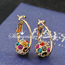 9k 9ct Gold Gp Womens Colorful Magic Ball Dangle Earrings Swarovski Crystal D004 Photo
