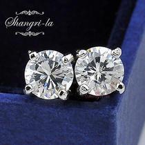 9k 9ct White Gold Gf Swarovski Diamond Round Stud Earrings T.w 1.0 Carat Ea112  Photo