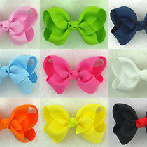 9pcs 2.5inch Boutique Solid Grosgrain Ribbon Bow-Knot Hairclipsus Photo