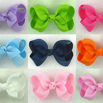 9xpcs 2.5inch Boutique Solid Grosgrain Ribbon Bow-Knot Girls Baby Hairclips Us Photo