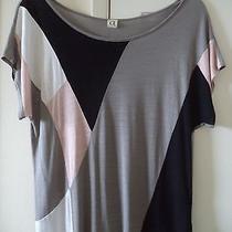 a 31 Color Block Mondrian Like Blush Taupe Black Rayon Knit Top Tshirt 12 14 L Photo