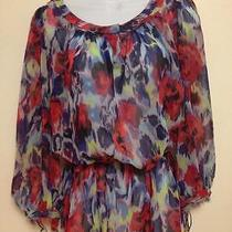 a.b.s. Allen Schwartz Gypsy Sheer Summer Top Multi Blue Red Floral Blouse Small Photo