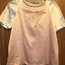 A Baby Pink & White Moshi Moshi Top by Zara  With Short Sleeves Photo