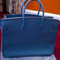 A Beautiful Hermes Blue Handbag Photo
