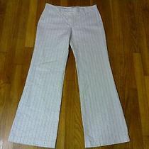 A Express Design Studio Editor Womens Sz 6 White Striped Dress Pants Slacks  Photo