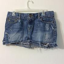 a&f Abercrombie and Fitch Jean Skirt Size 6 Distressed  Photo