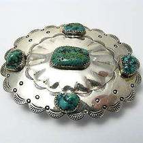 A Handcrafted Solid Sterling Silver Belt Buckle Turquoise Native American C1960s Photo