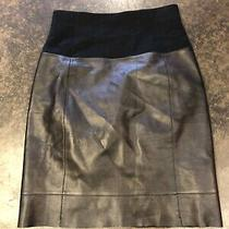 A K R I S  Black Leather and Cashmere Skirt Xs Photo