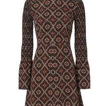 a.l.c. Alexa Silk Paisley Fit Flare Dress Burgundy Black Gold Bell Sleeves Sz 2  Photo