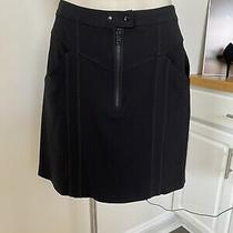 a.l.c. Black Knit Mini Skirt Exposed Zip Front Snap Waist 2 Open Pockets Front Photo