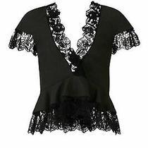 a.l.c. Black Women's Size 2 Floral Lace Scalloped Hem Peplum Top 425- 160 Photo