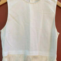 a.l.c. Crop Top - White Fringed Tank - Sleeveless Womens Shirt - Size 2 - Flaw Photo